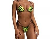 Yellow Zebra print Thong Bikini