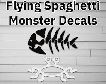 FSM Flying Spaghetti Monster Jolly Pirage Fish Decal, Sticker for Laptop, Tumbler, Car, Window, Laptop, pastafarian