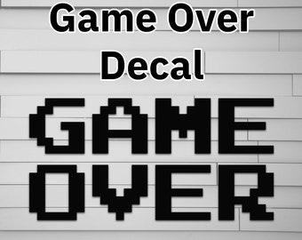Game Over Vinyl Decal for Car (retro pixel 8bit 8-bit 8 bit) (sticker for laptop window tumbler water bottle computer)