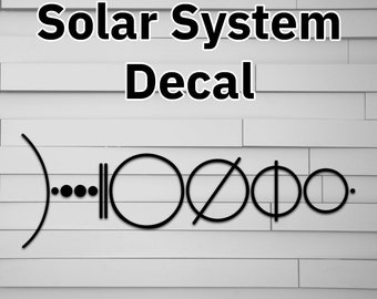 Solar System Vinyl Decal Minimalist Space Sticker NASA Laptop Macbook Waterbottle Car