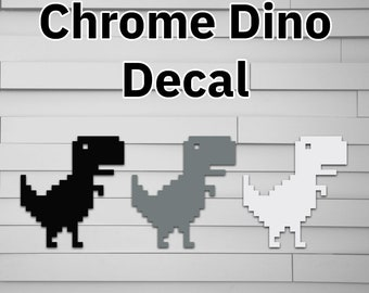 Chrome Dino Vinyl Decal for Car (gaming dinosaur offline google) for laptop window tumbler water bottle computer sticker)