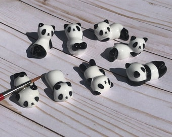 Kawaii Panda Brush Rest, Cute Panda Bear Ceramic Paint Brush Holder Black & White Porcelain Watercolor Accessory, Artist Gift, Free Shipping