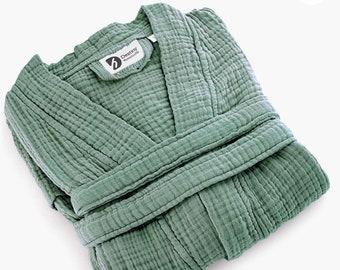 Green 4 Layer Muslin Kimono, Soft Kimono Robe. Bath Robe. Soft Absorbent Gauze Bathrobe, Summer Kimono. Robes for women.
