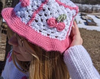 Crochet Bucket Hat, Cherry Bucket Hat, Patchwork Bucket Hat
