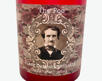 Edgar Allen Poe Gothic Scented Absinthe Hand Poured Soy Candle Dark Rose Background *wood wick available*