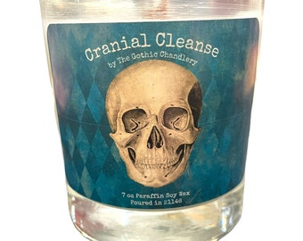 Juniper Breeze Cranial Cleanse Scented Candle Gothic Skull Decor