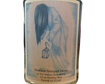 Ghost Candle Tonka and Honey Spice Scented Candle with Original Creepy Gothic Art
