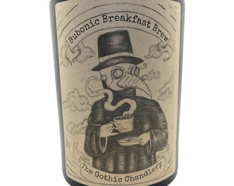 Bubonic Breakfast Brew gothic candle with original plague doctor art with coffee