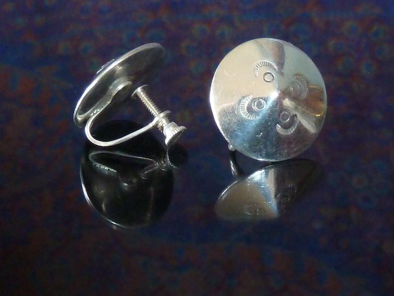 Screw Back Vintage Sterling Button Earrings
