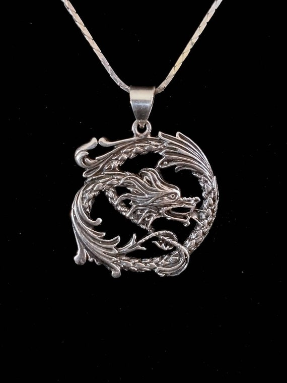 Silver Plate Rampant Dragon Chinese New Year Pendant