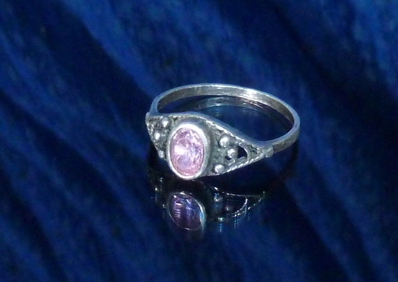 Pink Tourmaline Ring Delicate Vintage Sterling Silver Ring Size 6 14