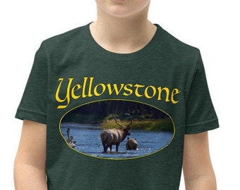 Youth Short Sleeve T-Shirt - Yellowstone Elk in Madison River