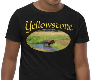Youth Short Sleeve T-Shirt - Yellowstone Bison in Gallatin River