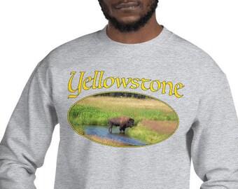 Unisex Sweatshirt - Yellowstone Bison in Gallatin River
