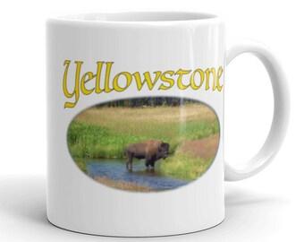 Coffee Mug - Yellowstone Bison in Gallatin River