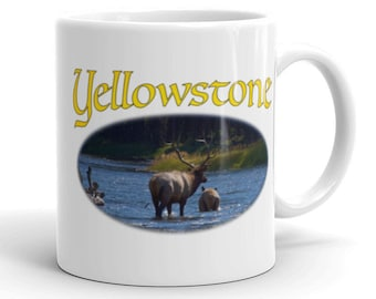 Coffee Mug - Yellowstone Elk in Madison River