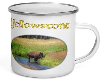 Enamel Camper Mug - Yellowstone Bison in Gallatin River