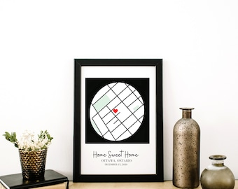Personalized Map, First House, First Date, Favourite Location, Anniversary Gift, Custom Map   Digital Download