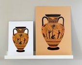 Olive Pickers - Black-Figure, Terracotta Amphora, Ancient Greek, Attic Vase Print