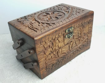 Wooden Carved 3 tier Jewellery box, Unique Gift item for birthday, anniversary, wedding, house warming, wife, girlfriend, husband