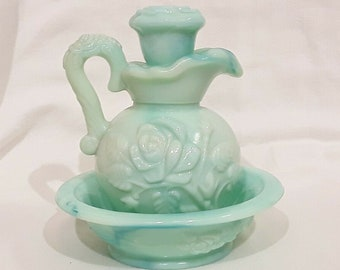 Vintage decorative Water Pitcher and Wash Bowl Basin Raised open rose green leaves and branch Scalloped edges with God Bless Our Home
