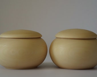 Wooden go game bowls made of linden tree