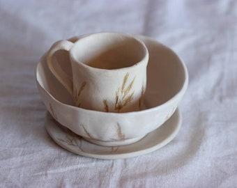 Beige Stoneware Dinnerware Set, Handmade Ceramic Rustic Dish Set