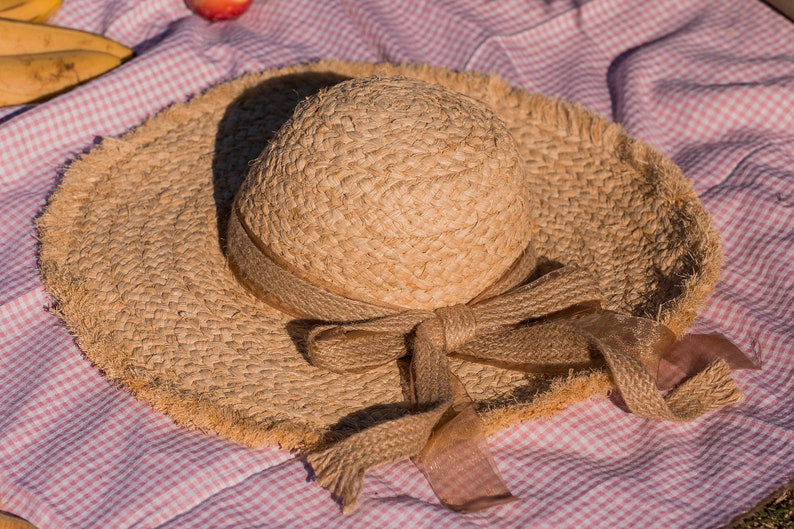 French Retro Summer Sun Hat Cloche Straw Boater Wide Brim Hat Canvas Sheer Ribbon Coralie