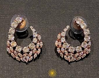Beautiful vintage teardrop clip on earrings Pinup Diamonte clip ons Luxury look earrings. Burlesque Glamour