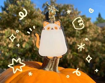 Ghost Cat Acrylic Keychain