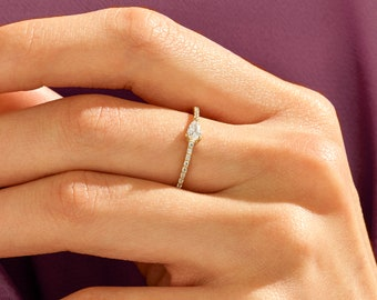 14k Solid Gold Diamond Half Eternity Pear Ring, Diamond Stacking Ring, Diamond Pear Ring, Diamond Wedding Ring, Diamond Anniversary Ring