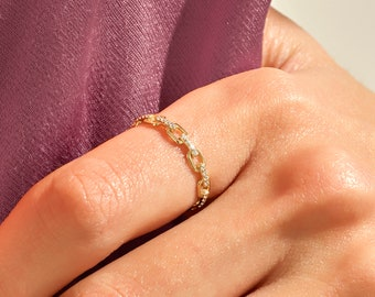 14k Solid Gold Diamond Open Link Ring, Pave Diamond Chain Ring in Gold, Stackable Diamond Link Ring, Solid Gold Diamond Chain Ring