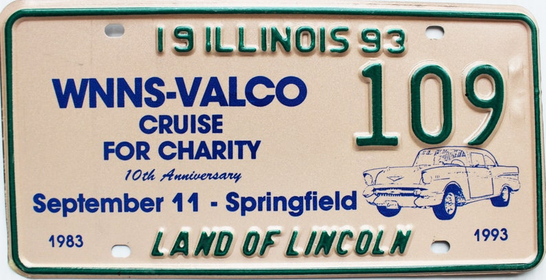 1993 Illinois Cruise For Charity license plate #109