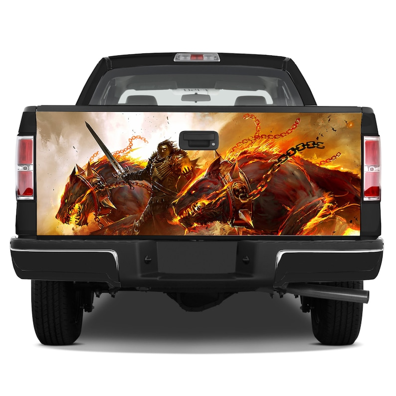 Tailgate Graphics Wrap Warrior Hell Dogs Flames Chains Vinyl