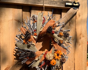Autumn door wreath| rustic outdoor decor| found wood and harvest| hand painted pumpkin, burlap ribbon, pine cones, upcycled elements