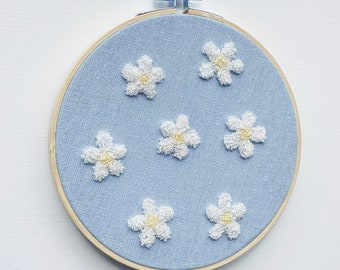 Fluffy Punch-Needle Flowers Embroidery Hoop Wall Hanging