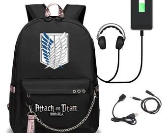 Ramen Astro Boy Backpack Daypack Rucksack Laptop Shoulder Bag with USB Charging Port