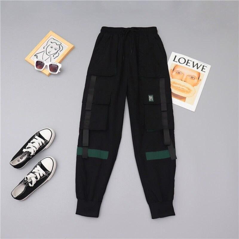 Pantalones de carga para mujer Harajuku. Ropa japonesa ...