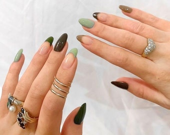Hand-painted Minimalistic Modern Earth Tones Reusable Press On Nails Green Brown Beige Tan Sage Green Camo