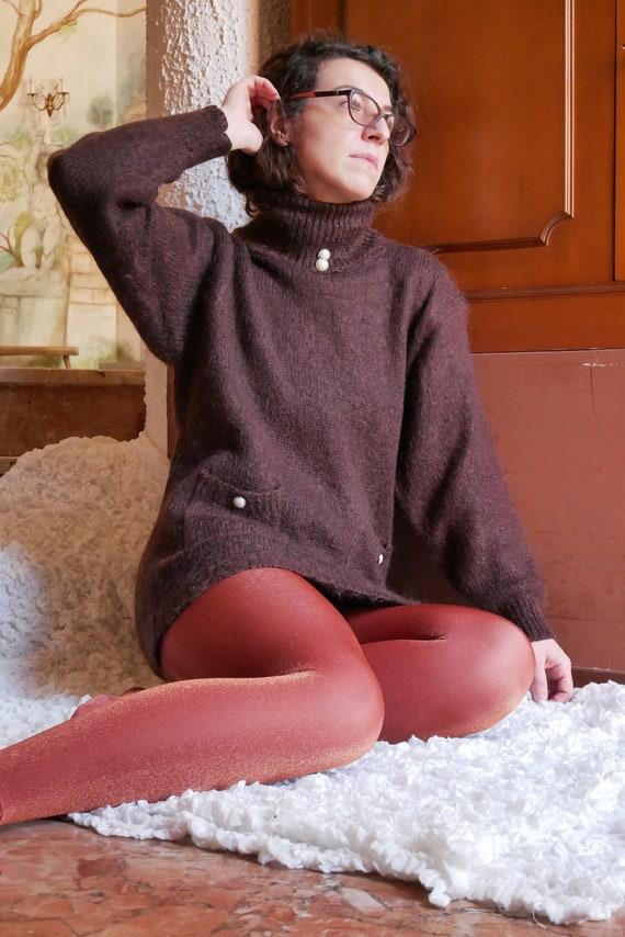 Vintage 80's mohair blend sweater | Bibo roll neck