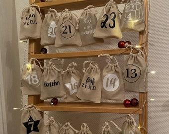Advent calendar for filling, 24 bags for filling, reusable advent calendar, children