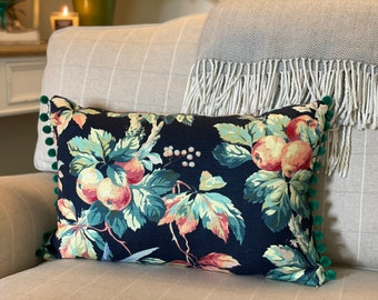 Vintage Fruit Cushion, Floral, Dark Blue and Orange Vintage Style Cushion with Emerald Green Pom Poms and Invisible Zip. Handmade in the Uk