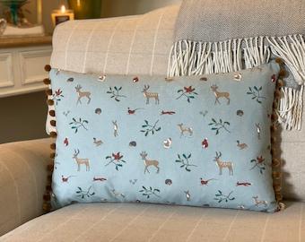 Woodland Friends Cushion, Nursery Decor, Country Cushion, Woodland Animals Print, Beige Pom Pom Trim, Invisible Zip, Sophie Allport Fabric