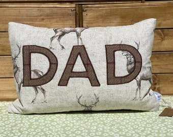 Father's Day Gift, Dad cushion, Dad's Birthday gift, Gift for him, stag cushion, country cushion, country gift, deer cushion