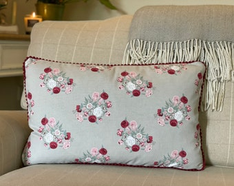 Rose Cushion, Rose Prints, Pink and Red Roses, Floral Cushion, Pink Pearl Pom Pom Cushion, Pom Pom Trim, Sophie Allport, Handmade in the UK