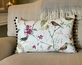 Floral Cushion, Leaves and Birds, Burgundy Pink, Blossom Print, Country Cushion, Dark Pink Pom Poms, Invisible Zip, Handmade in the UK.
