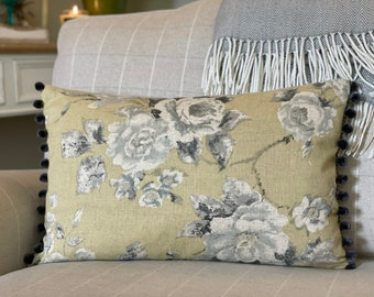 Vintage Mustard Floral Cushion, Grey Florals, Grey Pom Poms, Vintage Decor, Country Cushion, Finished with Invisible Zip. Handmade in the UK