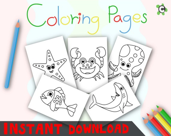 Sea Life Coloring Pages Instant Download Coloring Pages