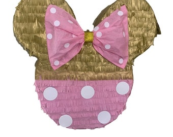 Handmade Pink and Gold Mouse with Bow Pinata