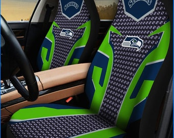 Seattle Seahawks Car Seat Cover 2Pcs Personalized Nonslip Auto Seat Protector  A